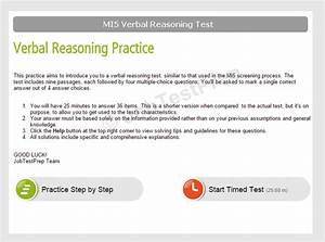 Mi5 Online Test  Verbal Reasoning  Assessment Centre