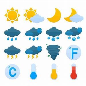 Weather forecast symbols color icons set of sun cloud rain ...