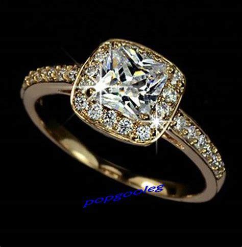 18k gold white gold gp swarovski princess wedding engagement ring