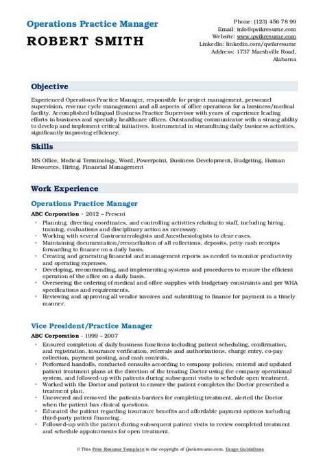 practice manager resume samples qwikresume