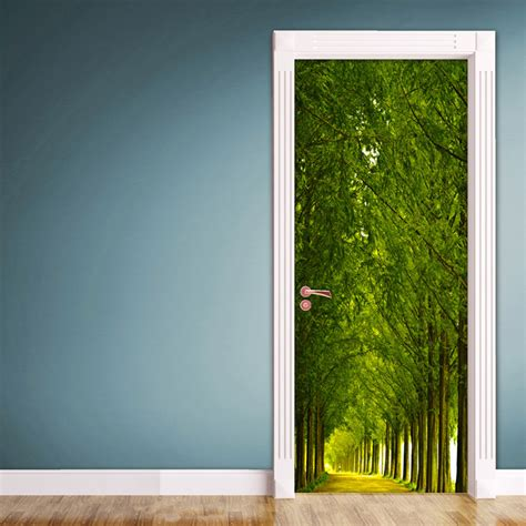 wood  road door contact paper wall sticker