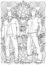 Supernatural Sam Dean Winchester Colouring Coloring Pages Grown Sheets Ups Mandala Drawings Adult Colour Tv Books Lines Line Character sketch template