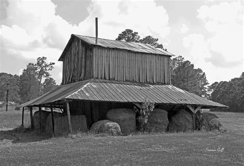 Clewis Family Tobacco Barn In Black And White Photograph