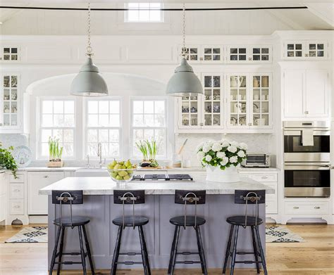 white kitchen gray island 15 gorgeous white kitchens with coloured islands the 1380