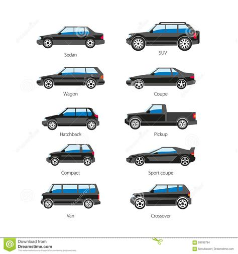 Car Or Automobile Body Type Names Vector Flat Isolated