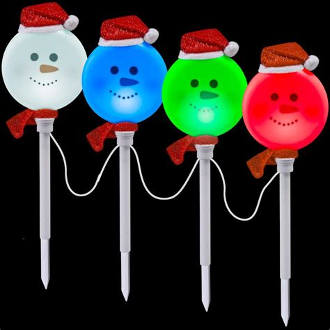 pathway christmas yard candles lightshow snowman pathway stake set of 4 81999 the home depot