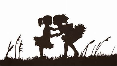 Silhouette Sister Holding Silhouettes Hands Clipart Sibling