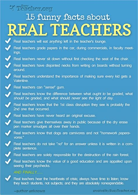 funny facts  real teachers poster
