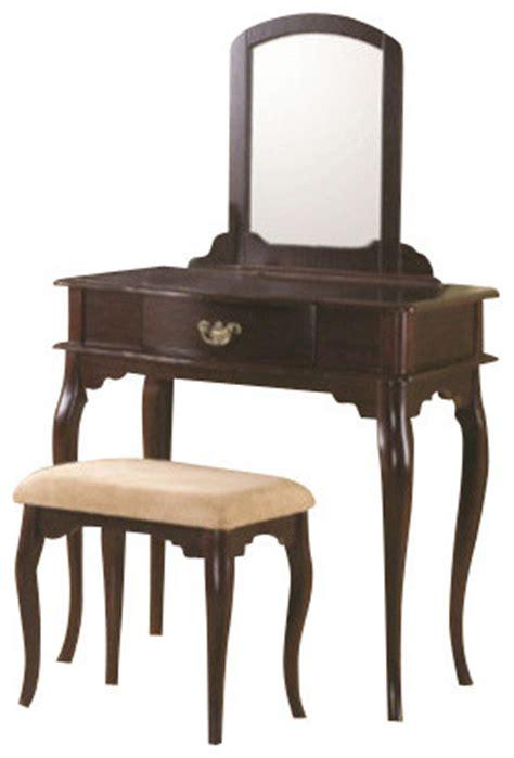 dark cherry finish wood 3 piece bedroom vanity set with