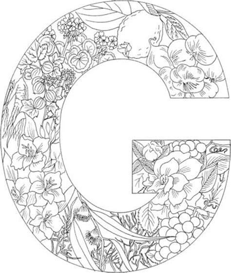 Letter G coloring page from English Alphabet with Plants