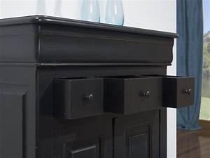 Petit Meuble Noir : petit buffet 2 portes 4 tiroirs timothy en ch ne massif de style louis philippe patine noir use ~ Teatrodelosmanantiales.com Idées de Décoration