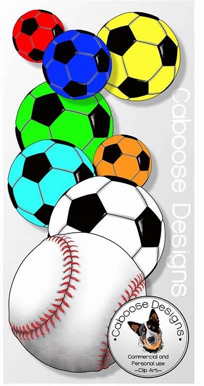 Clip Clipart Basketball Football Soccer Balls Baseball
