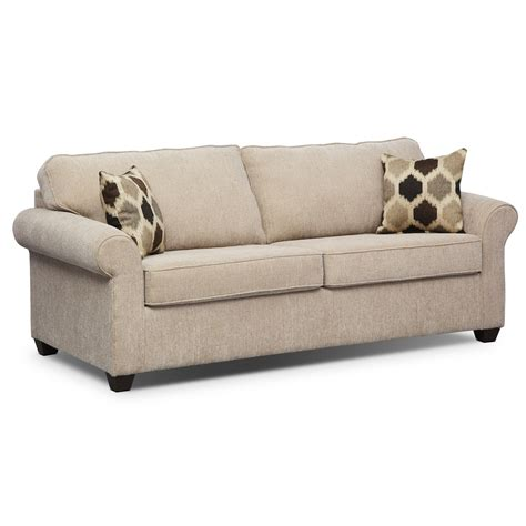 pull out sofa bed value city fletcher queen memory foam sleeper sofa beige value