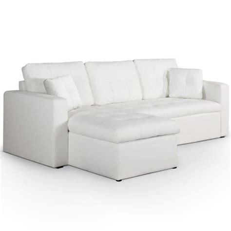 canap 233 d angle convertible toledo blanc achat vente canap 233 sofa divan croute de cuir