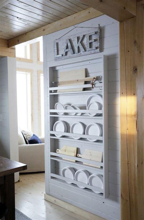 full length plate rack   cabin knock  wood