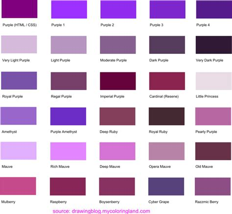 chambre bordeaux hues shades and tints of purple common names their rgb