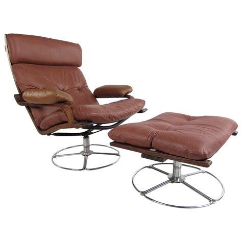 leather lounge chair with ottoman vintage leather westnofa style swivel lounge chair with