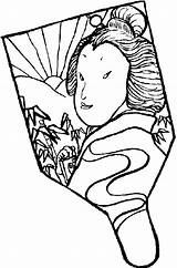 Coloring Japan Fan Hand Japanese Held Drawing Pages Culture Asian Drawings Temple Books Getdrawings Previous sketch template