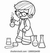 Coloring Science Laboratory Experiments Shutterstock sketch template
