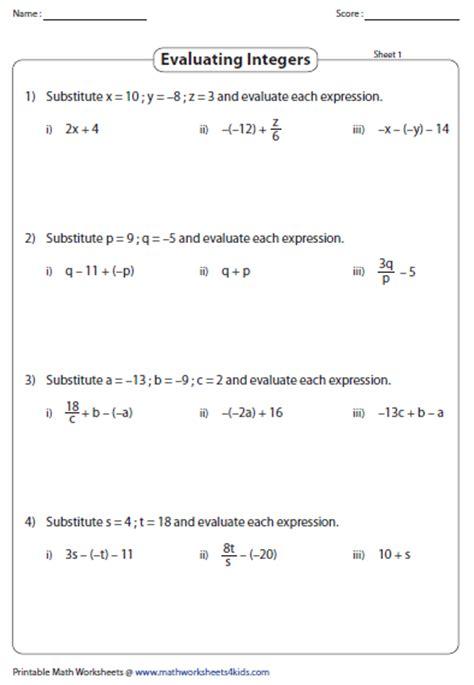 integers worksheets