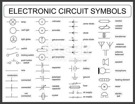 set of electronic circuit symbols stock vector more of antenna aerial 602316366