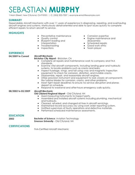 Mechanic Resume Summary unforgettable aircraft mechanic resume exles to stand
