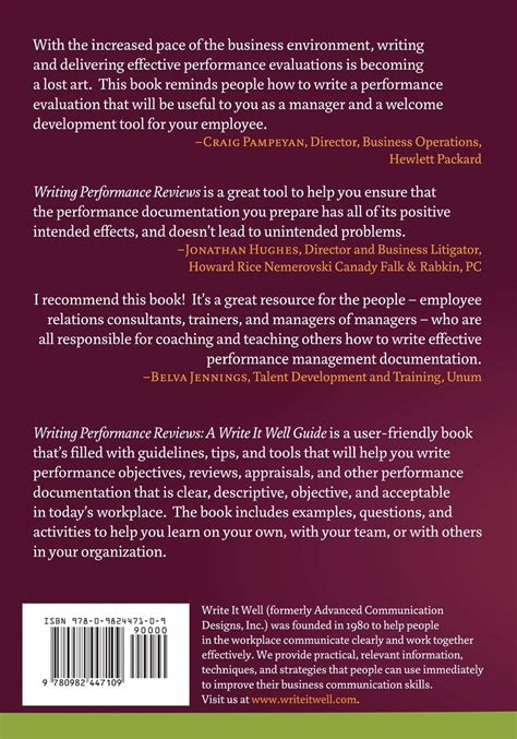 write  performance objective perfect