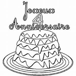 Dessin Gateau D Anniversaire : coloriage de 4 ans en ligne gratuit imprimer ~ Louise-bijoux.com Idées de Décoration