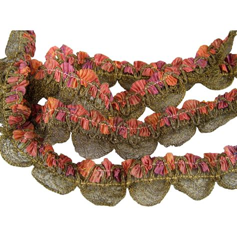 27 French Ombre Ribbon And Gold Metallic Trim C1920