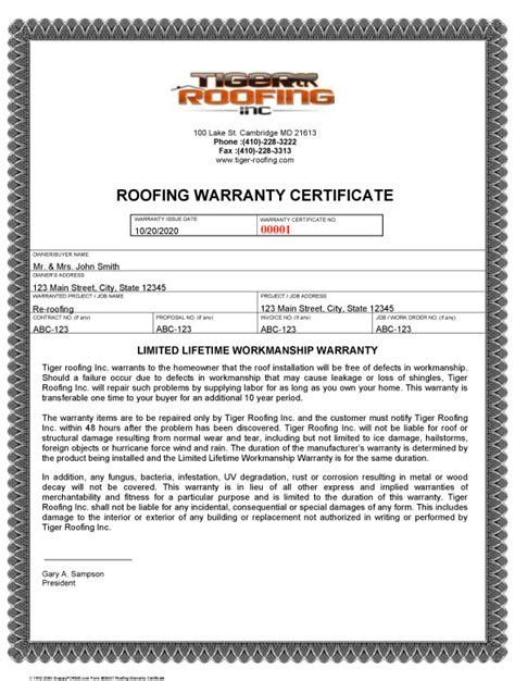 Roof Certification Template by Warranty Card Template Warranty Card Paper Cover Alca