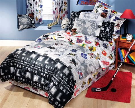 nhl hockey montage 3pc bed sheets set bedding chambre enfant