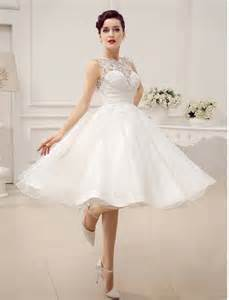 wedding reception gowns luxurious satin and lace ivory bridal wedding dresses with tea length wedding