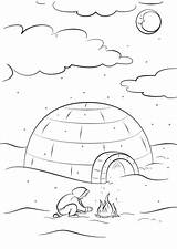 Coloring Inuit Igloo Pages Eskimo Sitting Printable Bonfire Drawing Paper Dot Categories Getcolorings sketch template
