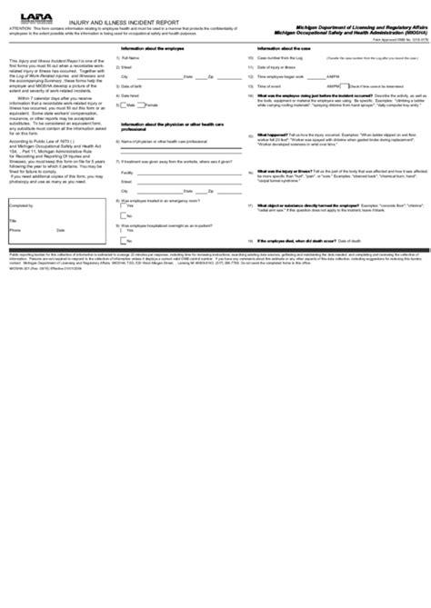 michigan lara injury  illness incident report form