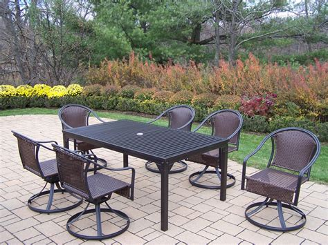 oakland living 7 pc patio dining set w 67x40