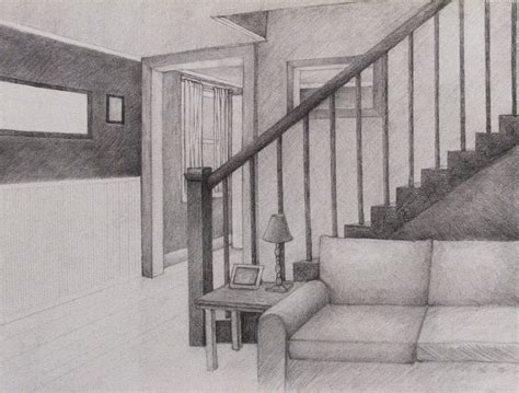One Point Perspective Living Room Drawing : Living Room Perspective Drawing By Wingedlioness On Deviantart