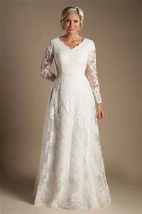 modest a line v neck long sleeve ivory lace wedding dress With long sleeve modest wedding dresses