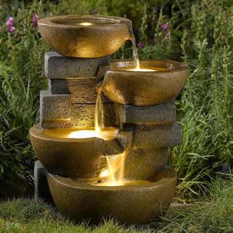 resinfiberglass zen tiered pots fountain  led light reviews joss main