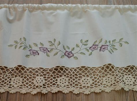 Cream Hand Crochet Lace French Country Kitchen Cafe Window