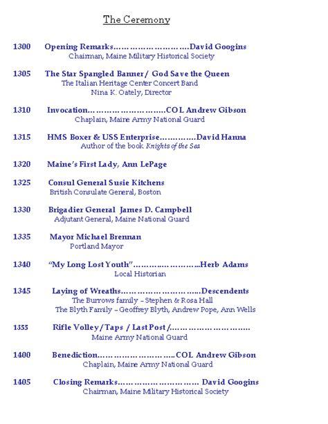 programentertainment graveside service program of events