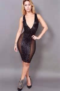 black bodycon womens mesh faux leather v low cut clubwear