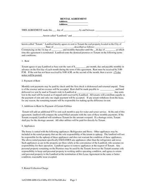 lease agreement form   landlord tenant lease