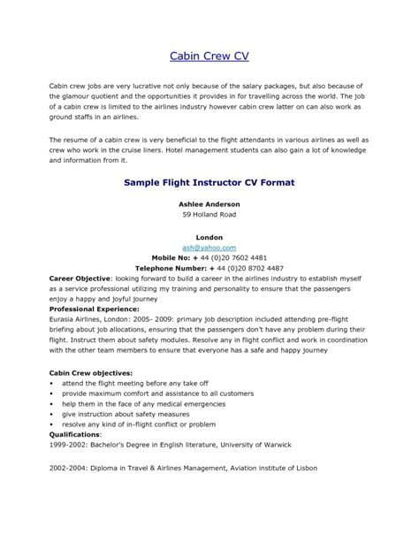 Airline Resume Format by Freshers Resume For Cabin Crew Resume Format
