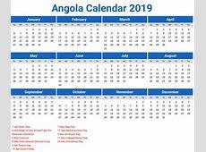 Angola Calendar 2019 printcalendarxyz