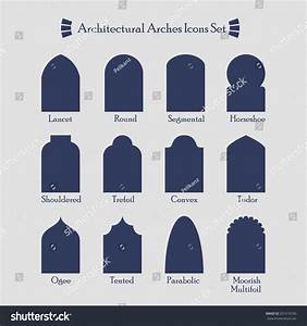 Set Common Types Architectural Arches Silhouette Stock ...