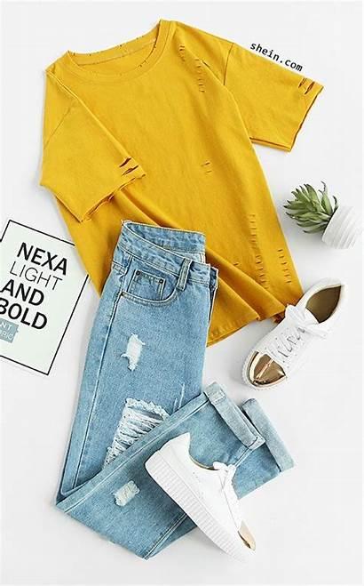 Outfits Yellow Shirt Teen Ripped Short Summer