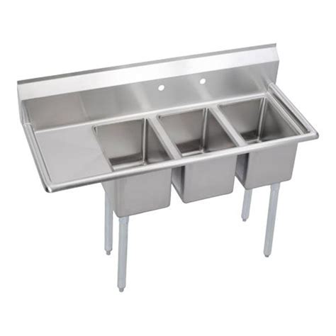 48 3 compartment sink elkay 3c10x14 l 12x deli 48 1 2 in 3 compartment sink