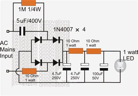 simplest 1 watt led driver circuit at 220v 110v mains
