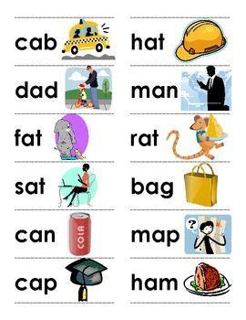 cvc words  picture cards  images cvc words