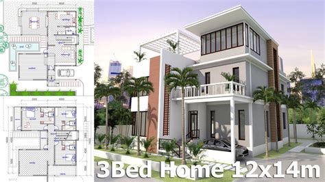 Sketchup Home Plan 12x14m 3 Story House With 3 Bedrooms